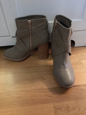 H&M Zipper Booties grey brown imitation leather