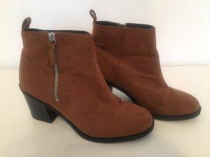 H&M Zipper Booties brown-cognac-coloured