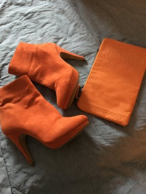 H&M Stiefeletten orange u passende Clutch Gr. 38