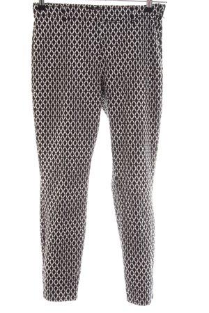 H&M Stoffhose schwarz-weiß Allover-Druck Business-Look