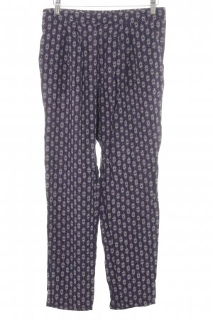 H&M Stoffhose neonblau-wollweiß abstraktes Muster Casual-Look