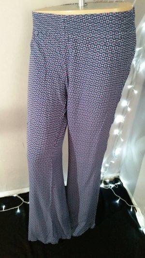 H&M Pantalone a zampa d'elefante blu-rosso lampone