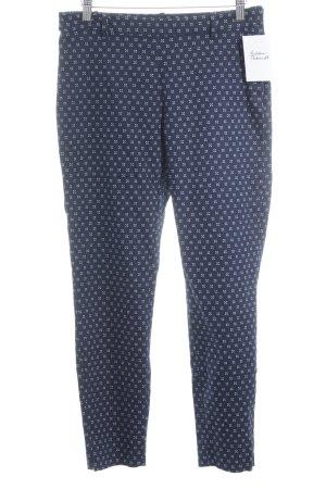 H&M Stoffhose dunkelblau-weiß abstraktes Muster Casual-Look