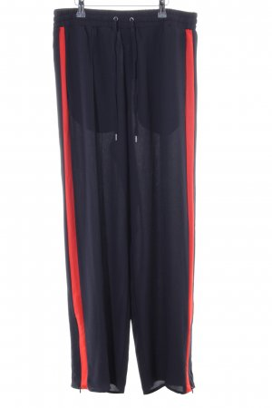 H&M Stoffhose schwarz-rot Casual-Look
