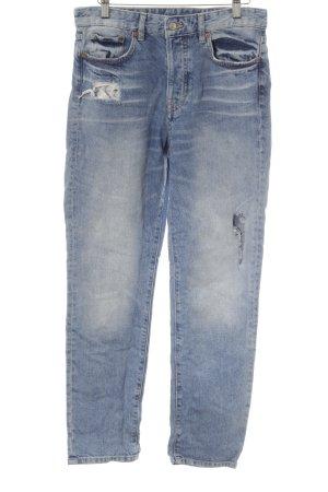 H&M Straight-Leg Jeans blau Destroy-Optik