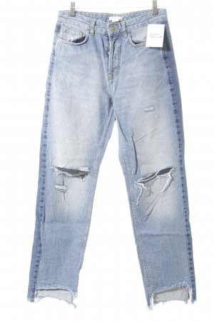 H&M Straight-Leg Jeans blau Destroy-Optik