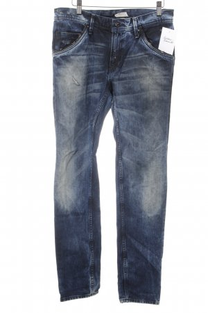 H&M Straight-Leg Jeans blau Washed-Optik