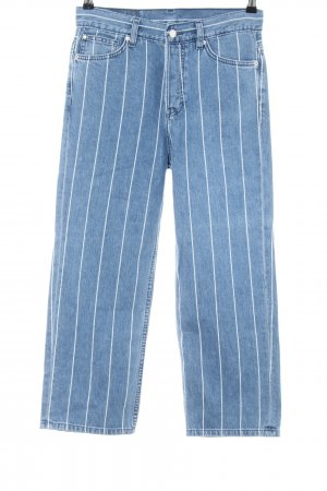 H&M Straight Leg Jeans blue-white striped pattern casual look