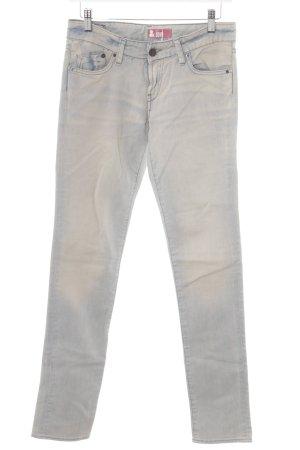 H&M Straight-Leg Jeans creme-himmelblau Used-Optik