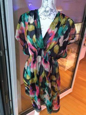 H&M Strandkleid Tunika schwarz bunt Gr XL 42