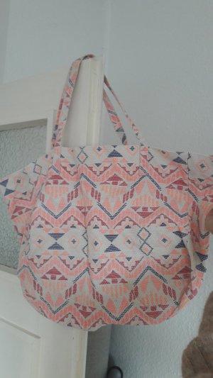 H&M Strandtasche Tasche Shopper Neon Nude Ikat Aztek Hippie Boho Ethno