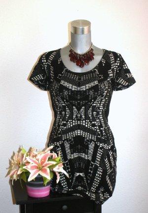 H&M Strech Kleid Empire gr.42 Schwarz Weiß