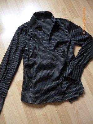 H&M Blusa cruzada negro-blanco