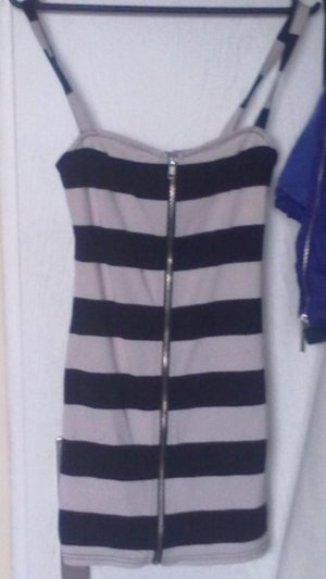 H&m Streifen gestreift schwarz nude Kleid XS 34 Longtop Reißverschluss Party