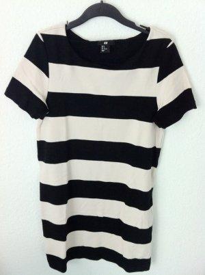 H&M Streifen Kleid Schwarz/ Nude