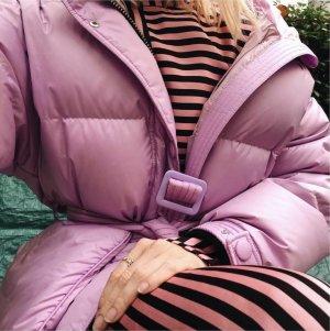 H&M Streifenkleid asymmetrisch gestreift Pink/Schwarz Blusenkleid 34