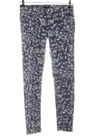 H&M Stretchhose blau-wollweiß Allover-Druck Casual-Look