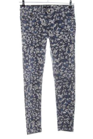 H&M Stretchhose blau-wollweiß Allover-Druck Casual-Look