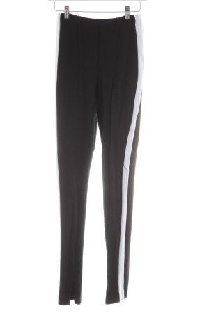 H&M Stretchhose schwarz-weiß Streifenmuster Business-Look