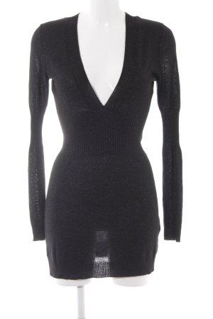 H&M Stretchkleid schwarz Glitzer-Optik