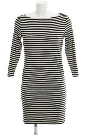 H&M Stretchkleid schwarz-hellbeige Streifenmuster Casual-Look