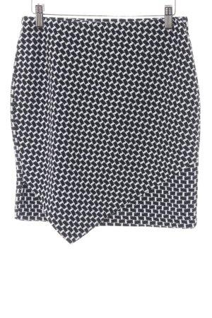 H&M Stretchrock dunkelblau-weiß grafisches Muster Casual-Look