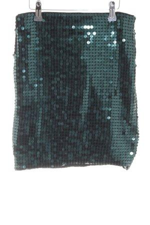 H&M Stretchrock grün Glitzer-Optik