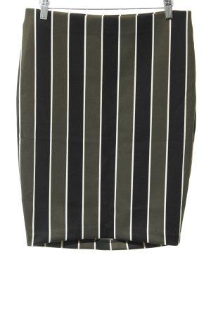 H&M Stretchrock schwarz-waldgrün Streifenmuster Casual-Look