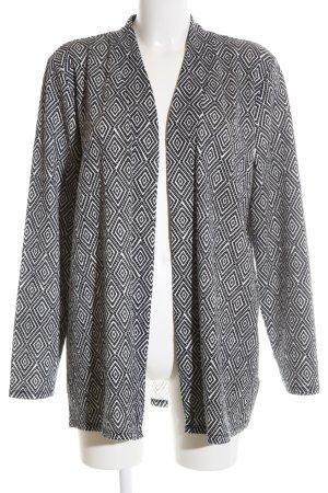 H&M Strick Cardigan weiß-schwarz Allover-Druck Business-Look