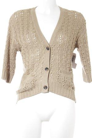 H&M Strick Cardigan beige Lochstrickmuster Casual-Look