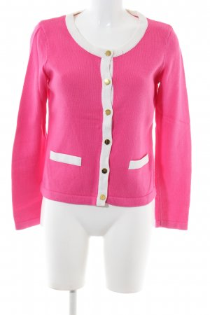 H&M Strick Cardigan pink-weiß Business-Look