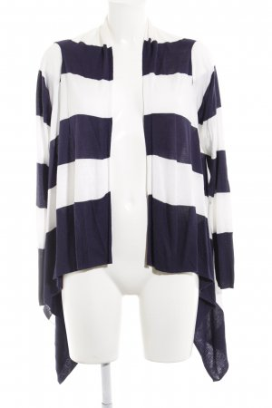 H&M Strick Cardigan weiß-dunkelblau Ringelmuster Casual-Look