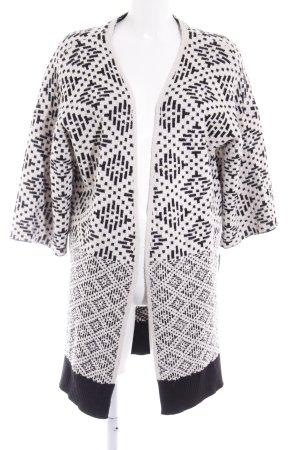 H&M Strick Cardigan weiß-schwarz Aztekenmuster Casual-Look