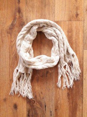 H&M Strick Woll Schal beige creme natur