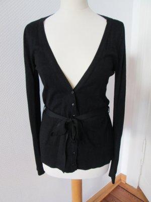 H&M Strickjacke mit Bindegürtel schwarz Gr.xs