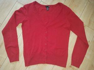 H&M Strickjacke Red Rot Langarm V Ausschnitt Herbst S 36