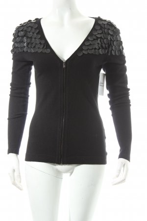 H&M Strickjacke schwarz Materialmix-Look