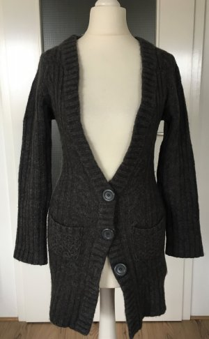 H&M Strickjacke XS 34 Cardigan Wolle Wollcardigan Longpulli Wollpullover Taupe Strickmantel