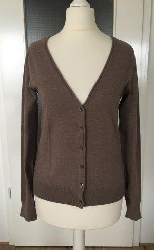 H&M Strickjacke XS 34 Taupe Braun Cardigan Pullover Weste Feinstrick Jacke Pulli