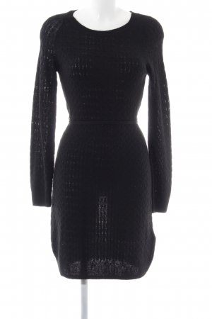 H&M Strickkleid schwarz Zopfmuster Business-Look