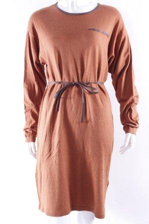 H&M Knitted Dress dark orange-brown cotton