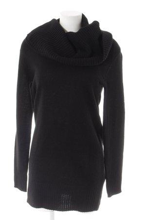 H&M Strickkleid schwarz Webmuster Casual-Look