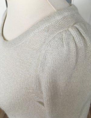 H&M Strickkleid XS 34 Weiß Metallic Strickpullover Longpulli Pullover Winter Kleid