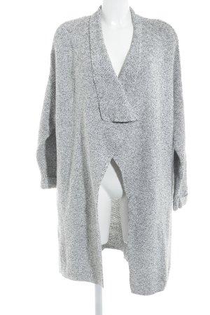 H&M Strickmantel weiß-dunkelgrau meliert Casual-Look
