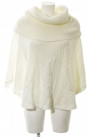 H&M Strickponcho wollweiß Zopfmuster Casual-Look