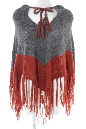 H&M Strickponcho hellgrau-rot Casual-Look