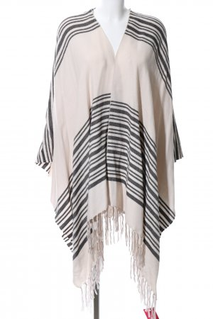 H&M Knitted Poncho oatmeal-black striped pattern casual look