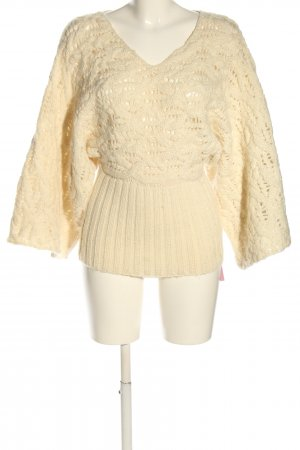 H&M Strickpullover creme Zopfmuster Casual-Look