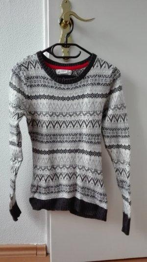 H&M Strickpullover Alpaca Norweger S 36 grau Muster Pullover