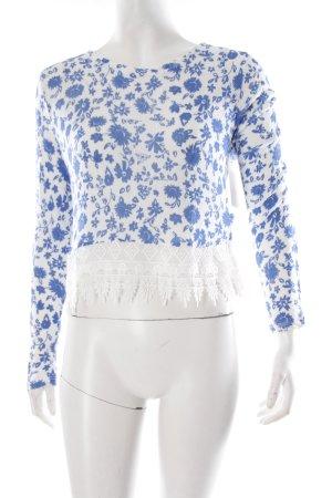 H&M Strickpullover blau-weiß Blumenmuster Häkel-Detail